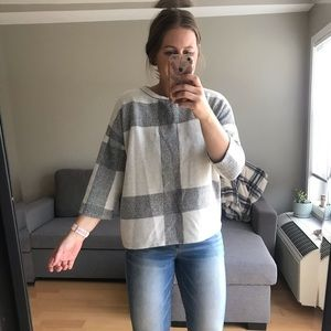 Zara Quilted Boxy Tshirt Sweater